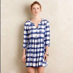 Anthro, Maeve Blue White Checkered Sapphire Dress